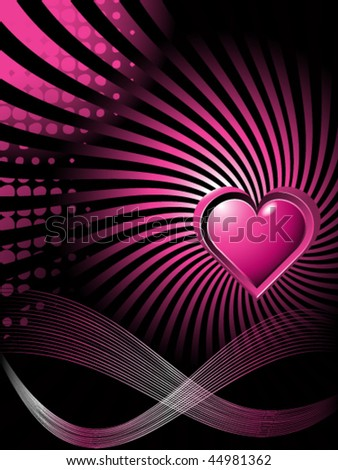 purple love heart background. stock vector : Black-purple