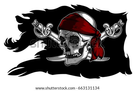 black ragged pirate flag with