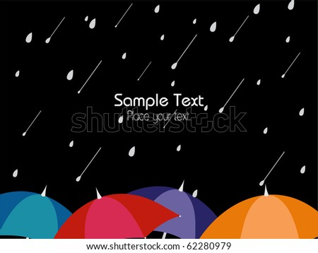 black raindrop background with colorful umbrella