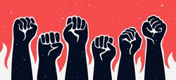Black raised up hands with flames of fire on red background. Vector illustration related to mass protest, demonstration, manifestation topics.