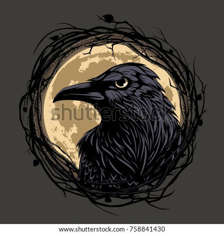 black raven in twig frame on