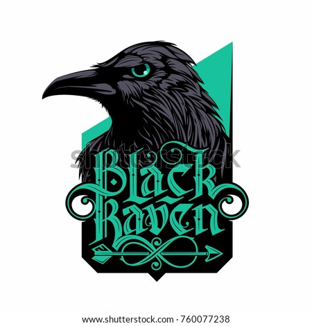 black raven logo with hand