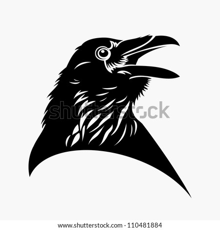 Black raven tattoo - vector illustration