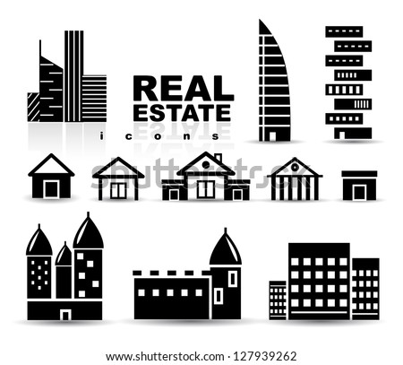 Black real estate | houses | buildings icon set. Isolated on white