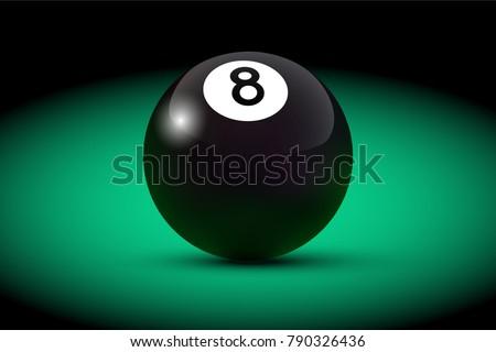 black realistic billiard eight