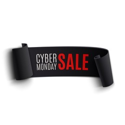 Black realistic curved paper banner. Ribbon. Cyber Monday sale. Vector illustration.
