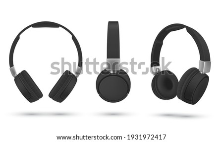 Black realistic headphones gaming headset collection vector illustration. Listening audio electronic device front left diagonal side view set isolated on white. Wireless 3d stereo earbuds accessories Сток-фото ©