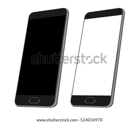 Black Realistic smart phone mock up. 3d Perspective view of high detailed smartphone. Vector white modern smartphone mockup. Cell phone with blank screen isolated