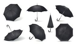 Black realistic umbrella icon set different positioning of umbrellas and positions in the folded and unfolded form vector illustration