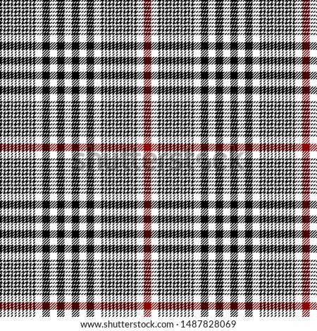Black, Red and white tartan plaid Scottish seamless pattern.Texture from plaid, tablecloths,clothes,shirts,dresses,skirt,jacket, bedding, blankets and other textile products.Glen plaid.Tweed fabric.