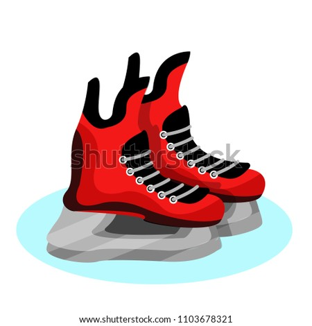 black  red hockey skates on ice