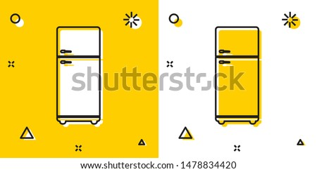 Black Refrigerator icon isolated on yellow and white background. Fridge freezer refrigerator. Household tech and appliances. Random dynamic shapes. Vector Illustration