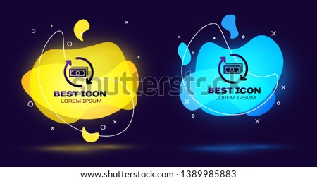 Black Refund money icon isolated. Financial services, cash back concept, money refund, return on investment, savings account. Set of liquid color abstract geometric shapes. Vector Illustration