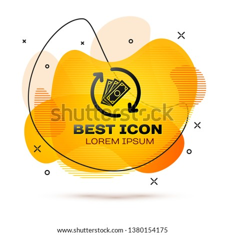 Black Refund money icon isolated on white background. Financial services, cash back concept, money refund, return on investment, savings account. Fluid color banner. Vector Illustration