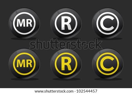 black registred copyright mr icons