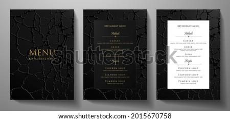 Black restaurant menu design with crack texture (grunge patten background), premium frame pattern (stripe border). Elegant luxury cover template for creative Cafe Menu, luxe carte, invite, notebook