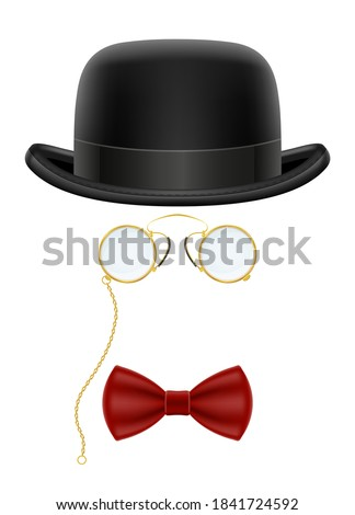 black retro bowler hat with glasses and bow tie vector illustration isolated on white background Stockfoto ©
