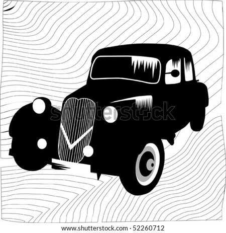 Black retro car on a black background;
