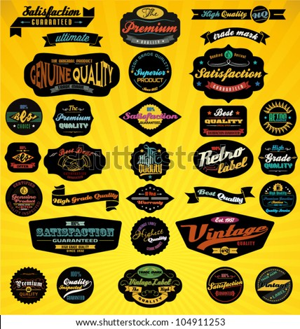 Black Retro Labels Collection. Vector Illustration.
