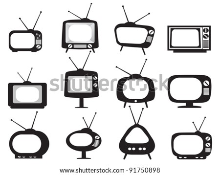 black retro tv icons set