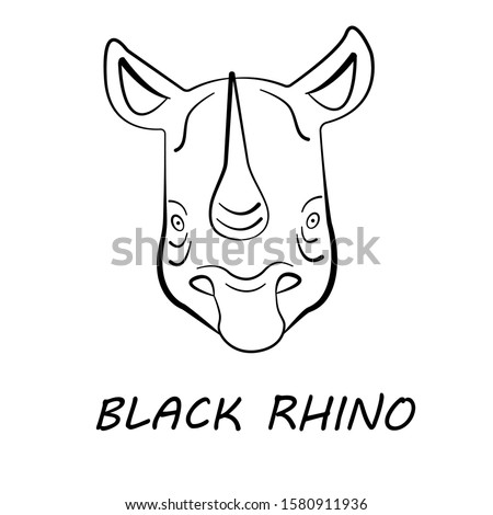 Black rhino face in simple black and white style, vector illustration
