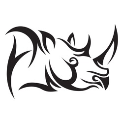 Black rhino silhouette drawn by various lines on a white background. Tattoo, animal logo, emblem for company design, clothes, stickers. Isolated vector