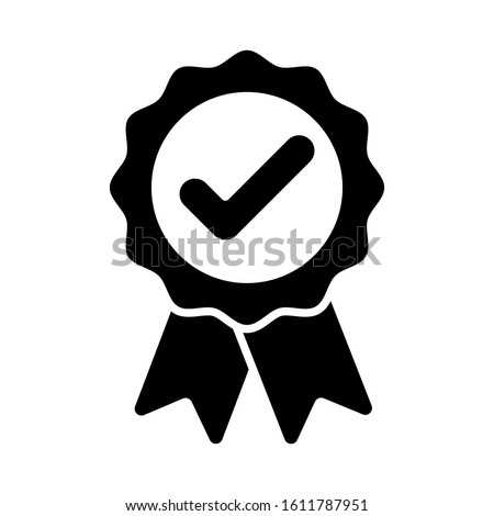 Black ribbon approved badge icon vector illustration award medal symbol Foto stock ©
