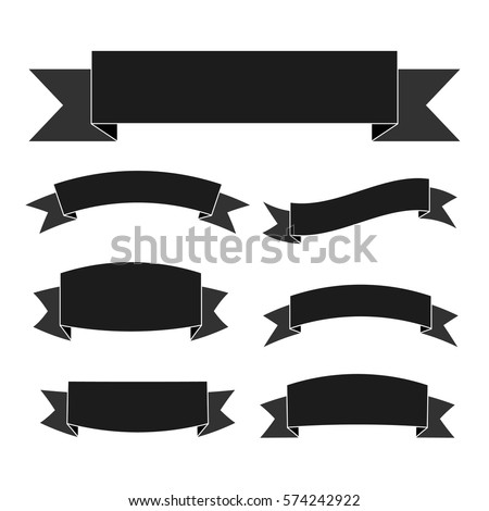 vector images illustrations and cliparts black ribbon banners set