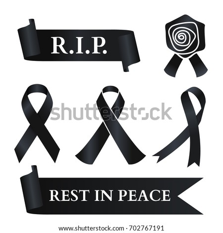 Black ribbon for rest in peace (R.I.P.) vector set design