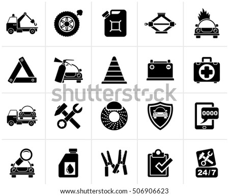 Black Roadside Assistance and tow  icons  - vector icon set