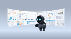 black robot analyzing statistics financial data on virtual boards artificial intelligence technology concept