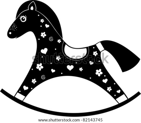 black rocking horse isolated on