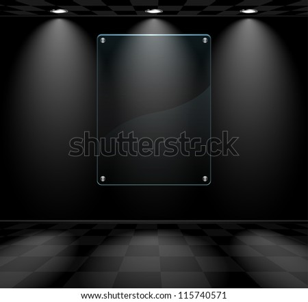 black room with glass