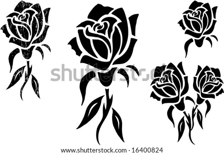 stock vector Black Rose