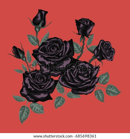 black roses for card design     ...