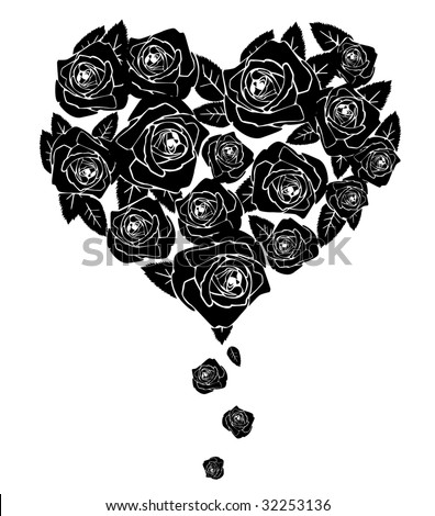 Black roses. Shape of heart