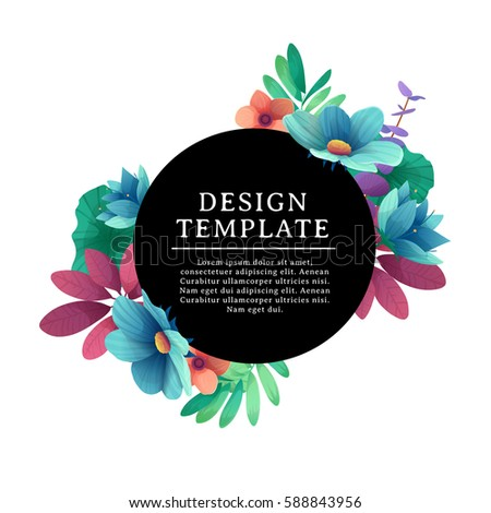 Black round banner with the place for text. Card for individual invitation with flower and herb. Promotion poster with summer plants, leaves and flowers decoration on white background. Vector