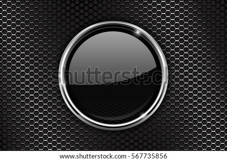 Black round button with chrome frame on perforated metal background. 3d Vector illustration