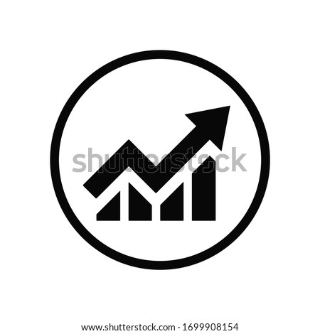Black round growing up business on chart graph bars icon, simple trending arrow flat design infographic pictogram vector, app logo web button ui ux interface elements isolated on white background Stock photo ©
