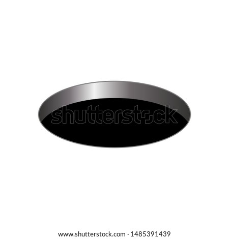 black round hole on a white isolated background