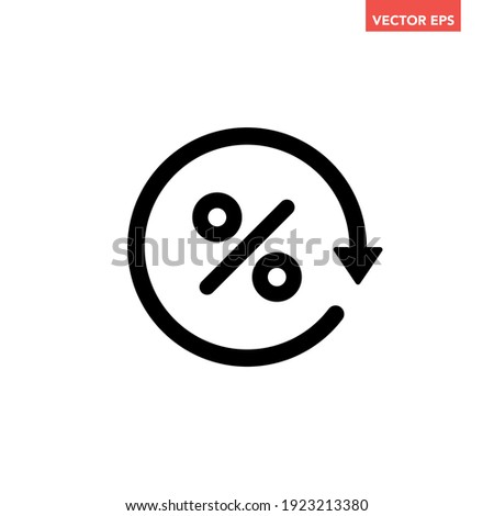 Black round loan percent refresh icon, simple exchange fees flat design vector pictogram, infographic vector for app logo web website button ui ux interface elements isolated on white background Foto stock ©