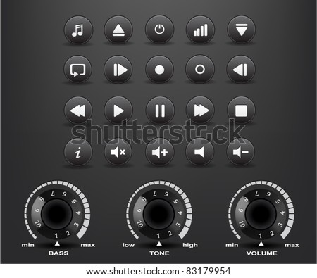 black round media player buttons and fader with shadows on the black background