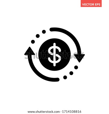 Black round money transfer icon, simple arrow financial usd dollar mark sale flat design vector pictogram, infographic interface elements for app logo web button ui ux isolated on white background Photo stock ©