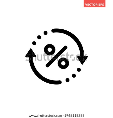 Black round rate exchange icon, simple finanical spin flat design vector pictogram, infographic vector for app logo web website button ui ux interface elements isolated on white background Imagine de stoc ©