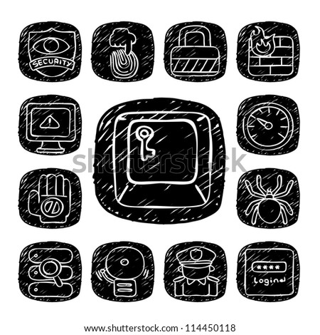 Black Round Series| doodle Security  icon set