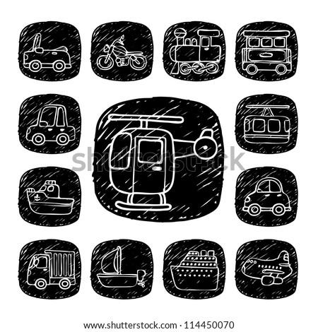 Black Round Series| doodle transportation ,traffic  icon set