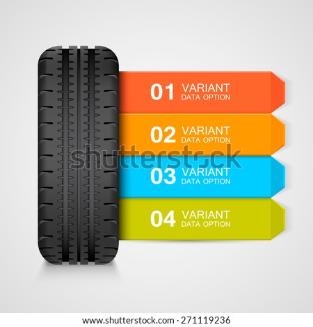 black rubber tire colorful