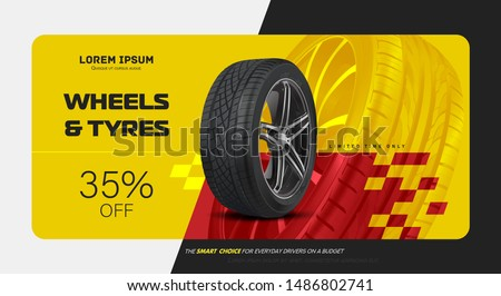 Black rubber tyre. Realistic vector shining disk car wheel tyre. Information. Tire car advertisement poster.  Store. Action. Landscape poster, digital banner, flyer, booklet, brochure and web design.