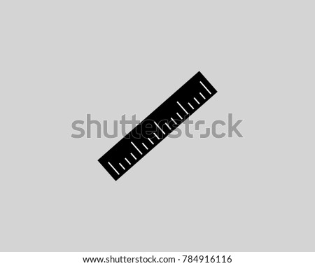 Black ruler icon vector, black illustration isolated vector sign symbol on gray background, linear ruler icon, centimeter ruler icon