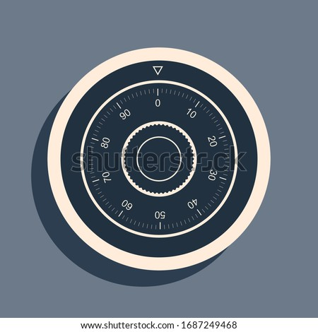 Black Safe combination lock wheel icon isolated on grey background. Protection concept. Password sign. Long shadow style. Vector Illustration Stock photo ©